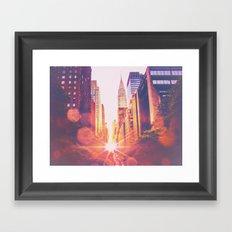 New York City Bokeh Sunset Framed Art Print