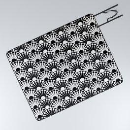 black and white art deco inspired fan pattern Picnic Blanket