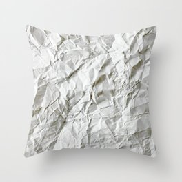 CRUMPLED WRINKLED WHITE PAPER I Throw Pillow