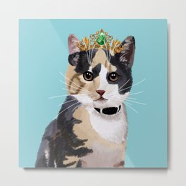 Elegant Cat with Crown Metal Print