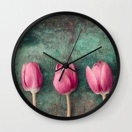 Three Red Tulips Wall Clock