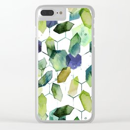Green Jade Watercolor Hexagons on White Clear iPhone Case