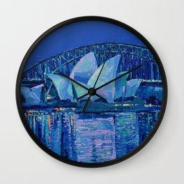 Sydney Opera House at Night - contemporary palette knife city landscape by Adriana Dziuba Wall Clock