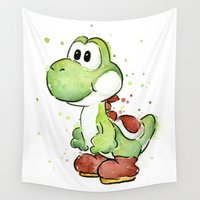 yoshi Wall Tapestries featuring Yoshi Watercolor Mario by Olechka