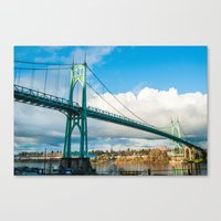 marc johns Canvas Prints featuring St. Johns Bridge by Kai Hayashi Photography