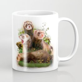 Four Ferrets in Their Wild Habitat Coffee Mug