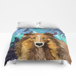 The Inquisitive Collie of the Psychedelic Dog Parade Comforters