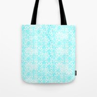 aqua Tote Bags featuring Aqua Blue Damask by 2sweet4words Designs