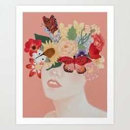 floral girl / butterfly print / flower crown / whimsical art print Art Print