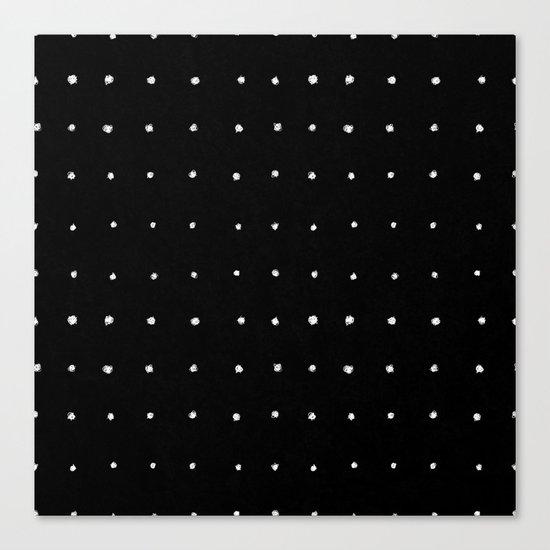 Dot Grid White on Black Canvas Print