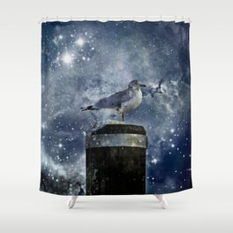 One Legged Seagull in a Snowstorm with Stars in His Eyes Shower Curtain