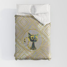 Gold Framed Cute Kitten On Mother of Pearl Comforters