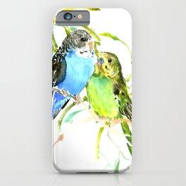 Budgies, love bird green blue decor iPhone Case