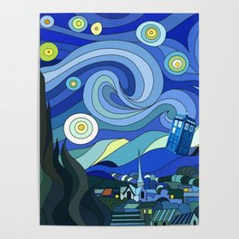 Tardis Art Starry Night Poster