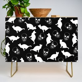 Skulls, Cats, Black and White, Pattern Credenza