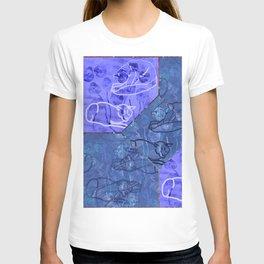 Blue Lapis & Violet Blue Cat Outline Tile T-shirt