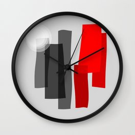 A Place I Remember - Abstract - Black, Gray, Red, White Wall Clock