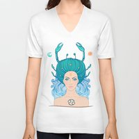 zodiac V-neck T-shirts featuring Zodiac Cancer by Varvara Gorbash