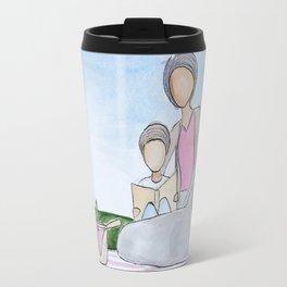 Grandma and Grandson reading Travel Mug