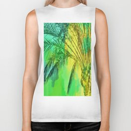 isolate palm tree with painting abstract background in green yellow Biker Tank