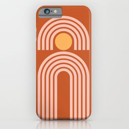 Geometric Lines in Rose Gold Terracotta (Sun and Rainbow Abstract) iPhone Case