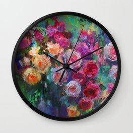 Tea Roses Wall Clock
