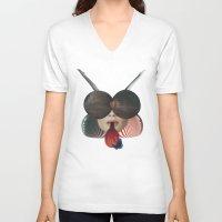 ladybug V-neck T-shirts featuring Ladybug by fabiotir