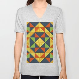 background geometric color plaid Unisex V-Neck