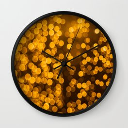 Gold Glitter Sparkle Bokeh Blurred Lights Shimmer Shiny Dots Spots Circles Out Of Focus Wall Clock