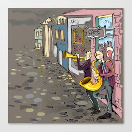 Abstract Jazz in the Streets musician saxophone Art Print Canvas Print
