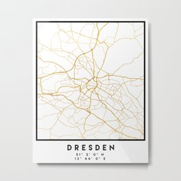 DRESDEN GERMANY CITY STREET MAP ART Metal Print