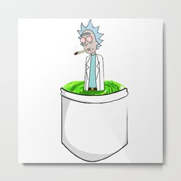 Rick & Morty smoking weed from a pocket Metal Print