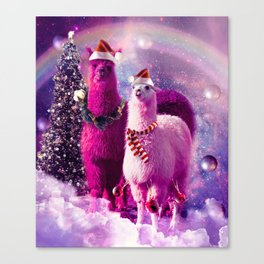 Crazy Funny Christmas Rainbow Llama In Space Canvas Print