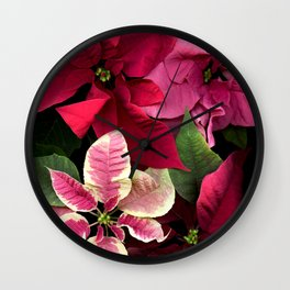 Colorful Christmas Poinsettias, Scanography Wall Clock