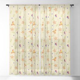 Birds and flowers pattern Sheer Curtain