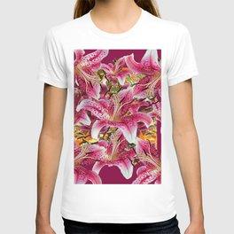 BURGUNDY GARDEN ASIAN LILY FLOWERS FLORAL ART T-shirt