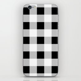 western country french farmhouse black and white plaid tartan gingham print iPhone Skin