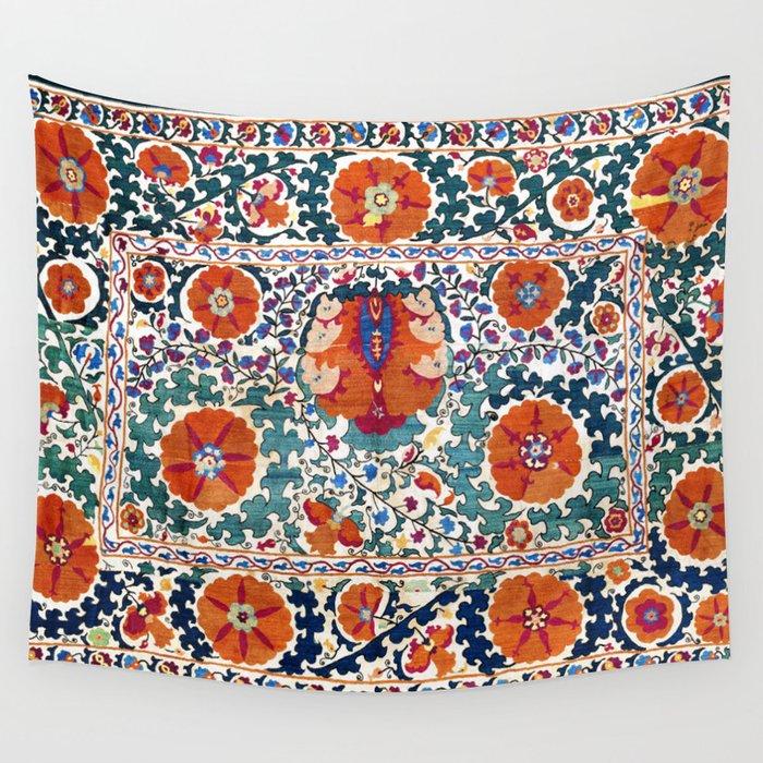 Shakhrisyabz Suzani Uzbekistan Antique Embroidery Print Wall Tapestry