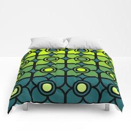 Bold Retro Green Succulent Flowers Comforters
