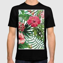 Tropical- Hibiscus and fern T-shirt