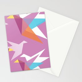 Pastel Paper Cranes Stationery Cards