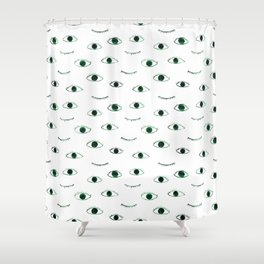 Green eyes    watercolor Shower Curtain