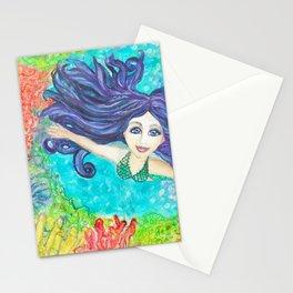 Oh Mermaids Happiness Mermaid Makielia in Coral Reef! Stationery Cards