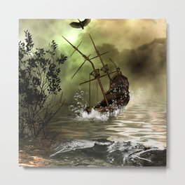 Awesome shipwreck in the sunset Metal Print