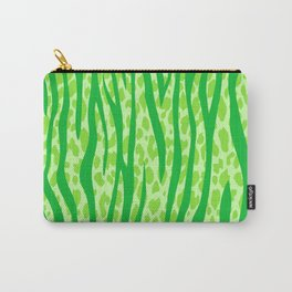 Lime Green Leopard Stripes Pattern Carry-All Pouch