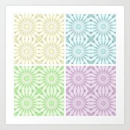 Pastel Pinwheel Flowers Panel Art Art Print