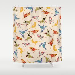 Vintage Wallpaper Birds Shower Curtain
