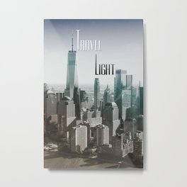 Travel Light | City Skyline Gradient Typography Photograph Metal Print
