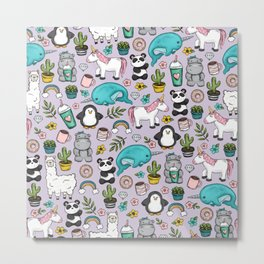 Narwhal and Friends, Emoji Tween Print, Unicorn, Cute Panda, Frappuccino, Penguin, Hippo Girls Art Metal Print