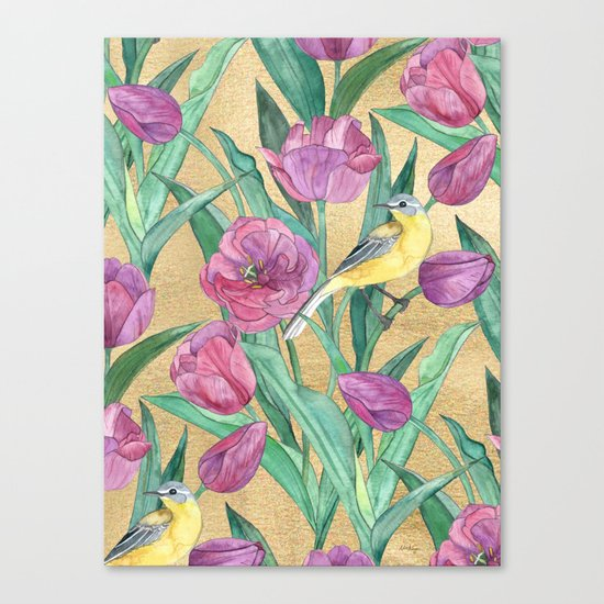 Blue Headed Wagtail in the Tulips Canvas Print